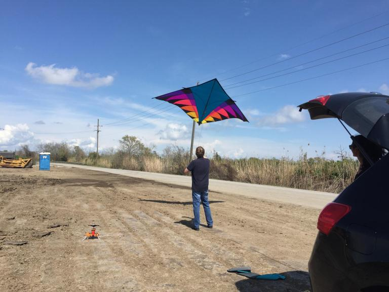 Kite mapping disappearing wetlands on the Louisiana Gulf Coast with members of the Public Lab community, March 2016, photos by Janet Walker.